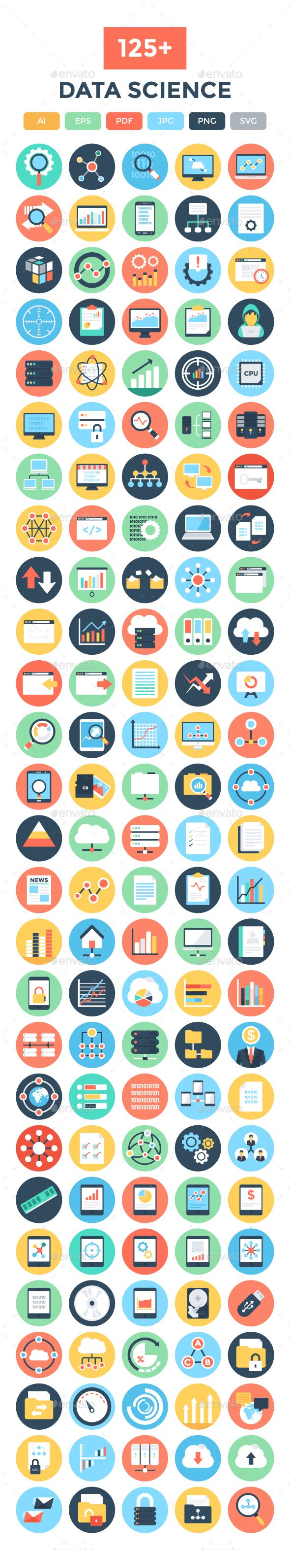 125 Flat Data Science Vector Icons Communication Icon Internet Icon School Icon