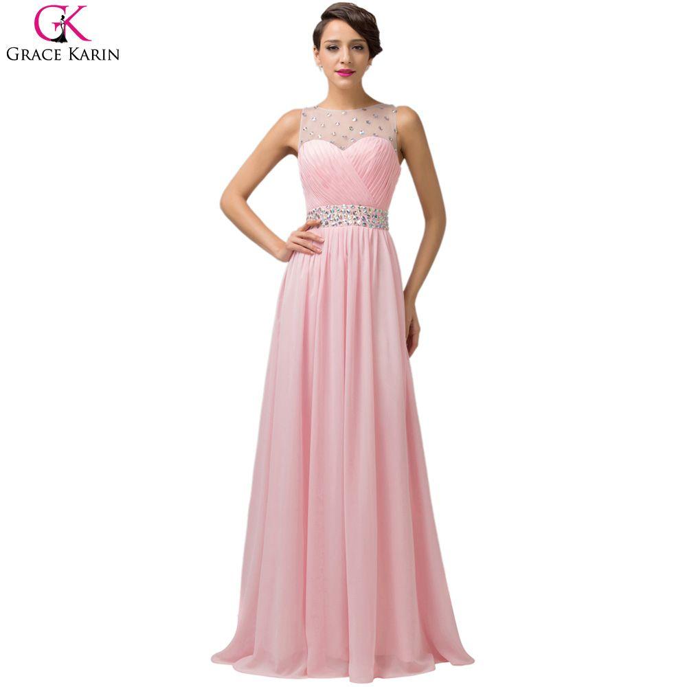 Long evening dress grace karin backless chiffon robe de soiree long