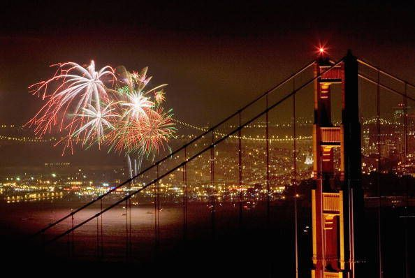 Fourth of July fireworks over the Golden Gate Bridge in San Francisco | Getty Images
