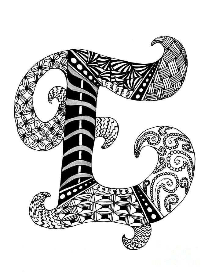 zentangle coloring pages letter n | Zentangle Letter E Monogram In Black And White Drawing ...