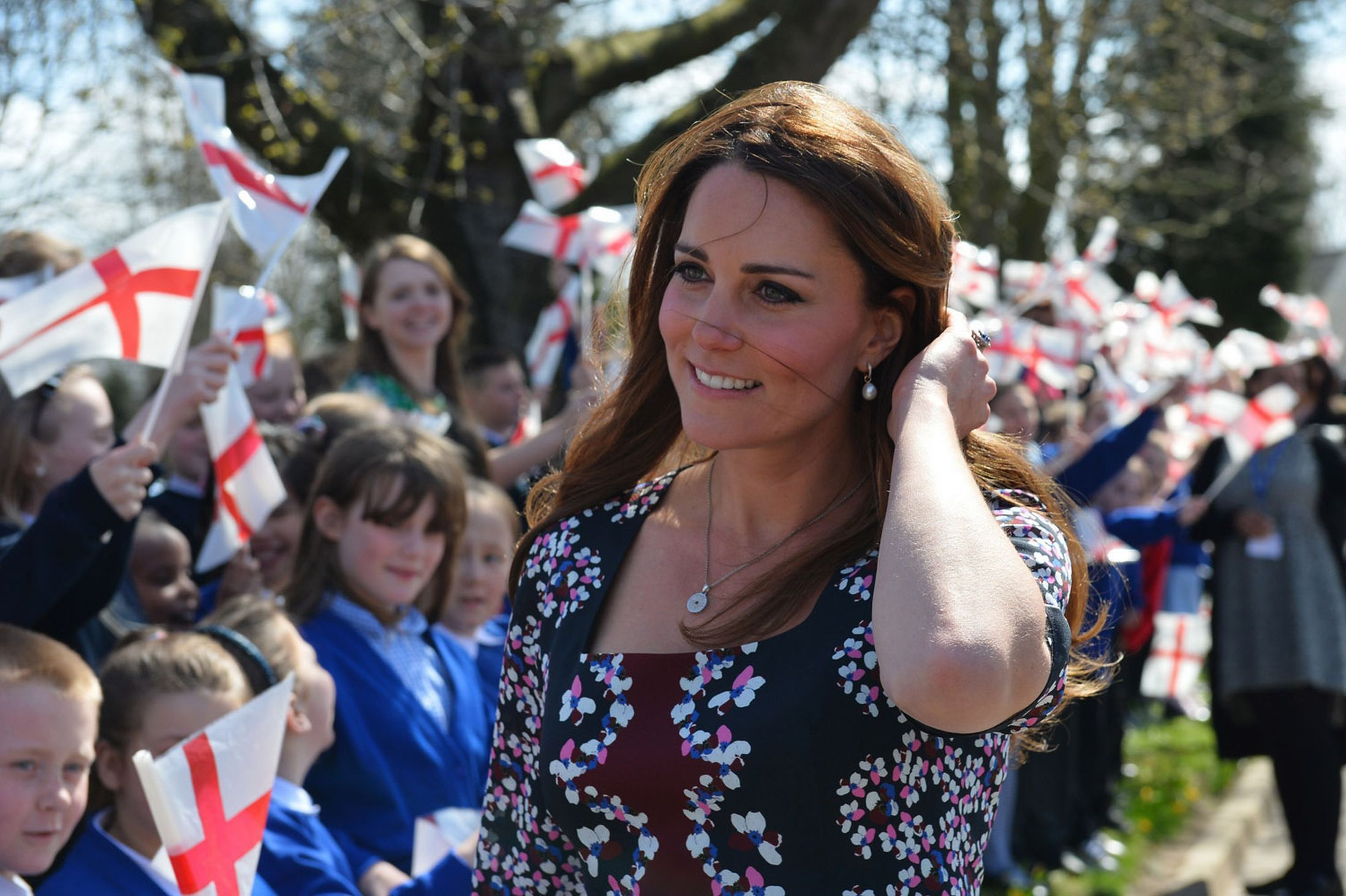 Kate Middleton Catherine Dutchess of Cambridge arriving at the Willows Primary School in Wythenshawe, Manchester for a charity engagement. April, 23, 2013