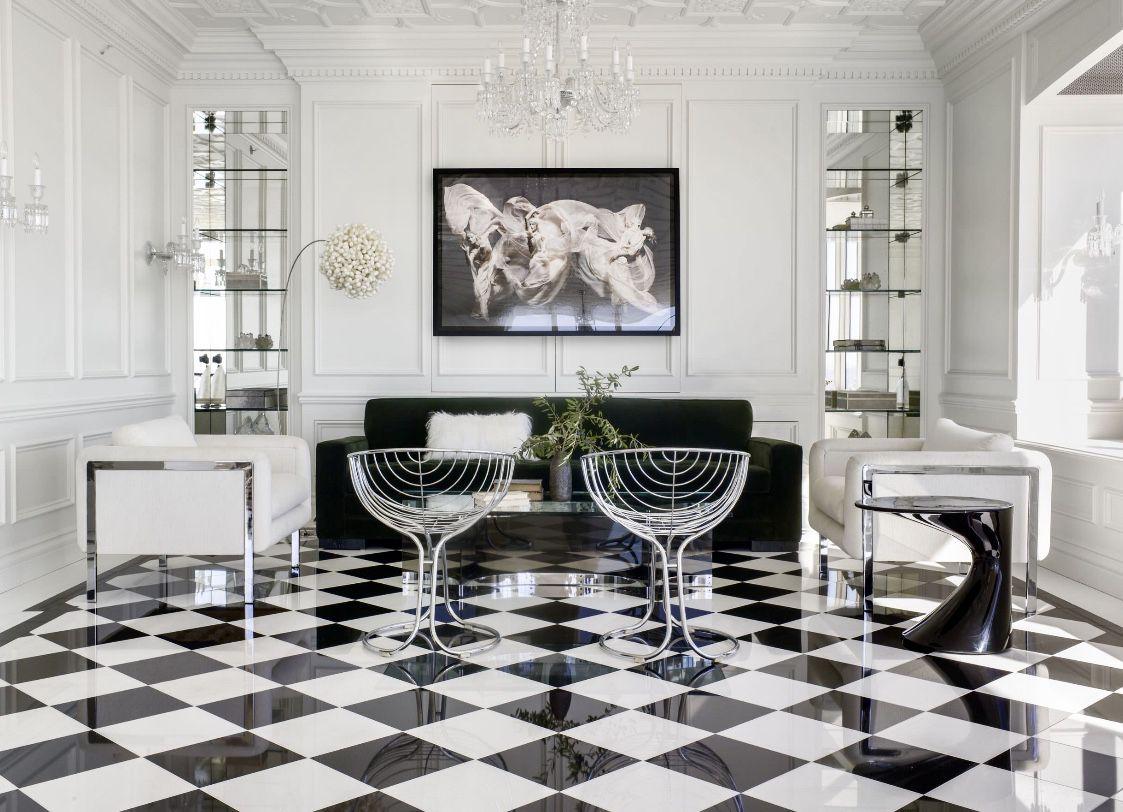 Black And White Living Room In Art Deco Style With Black Velvet