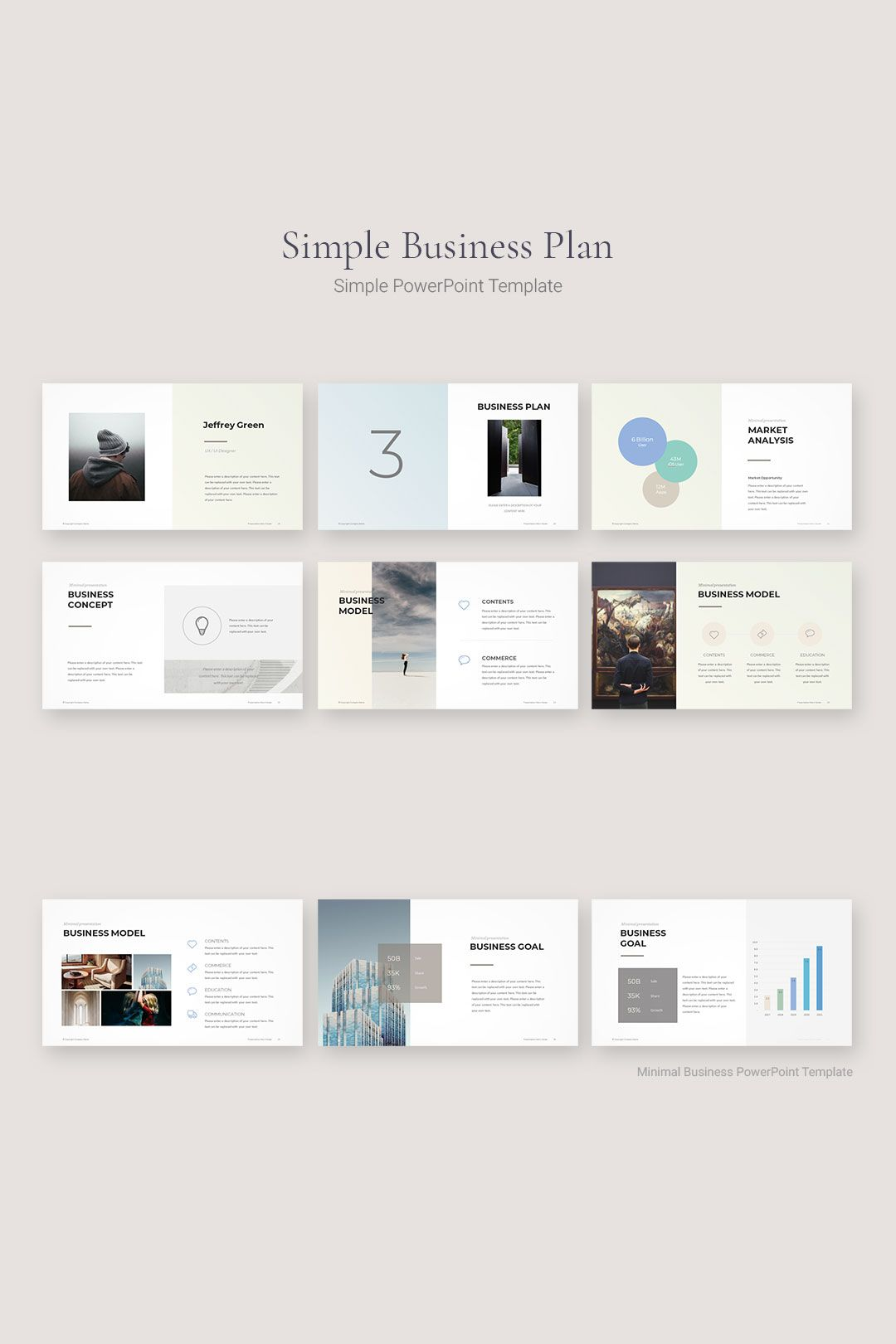 Minimal Business Plan PowerPoint Template Simple