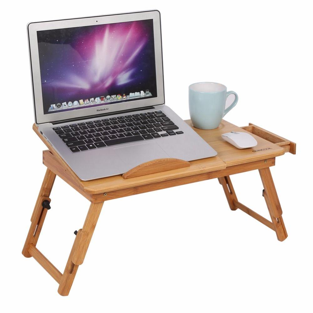 Soporte Portatil De Bambu Ajustable Mesa Plegable Ordenador