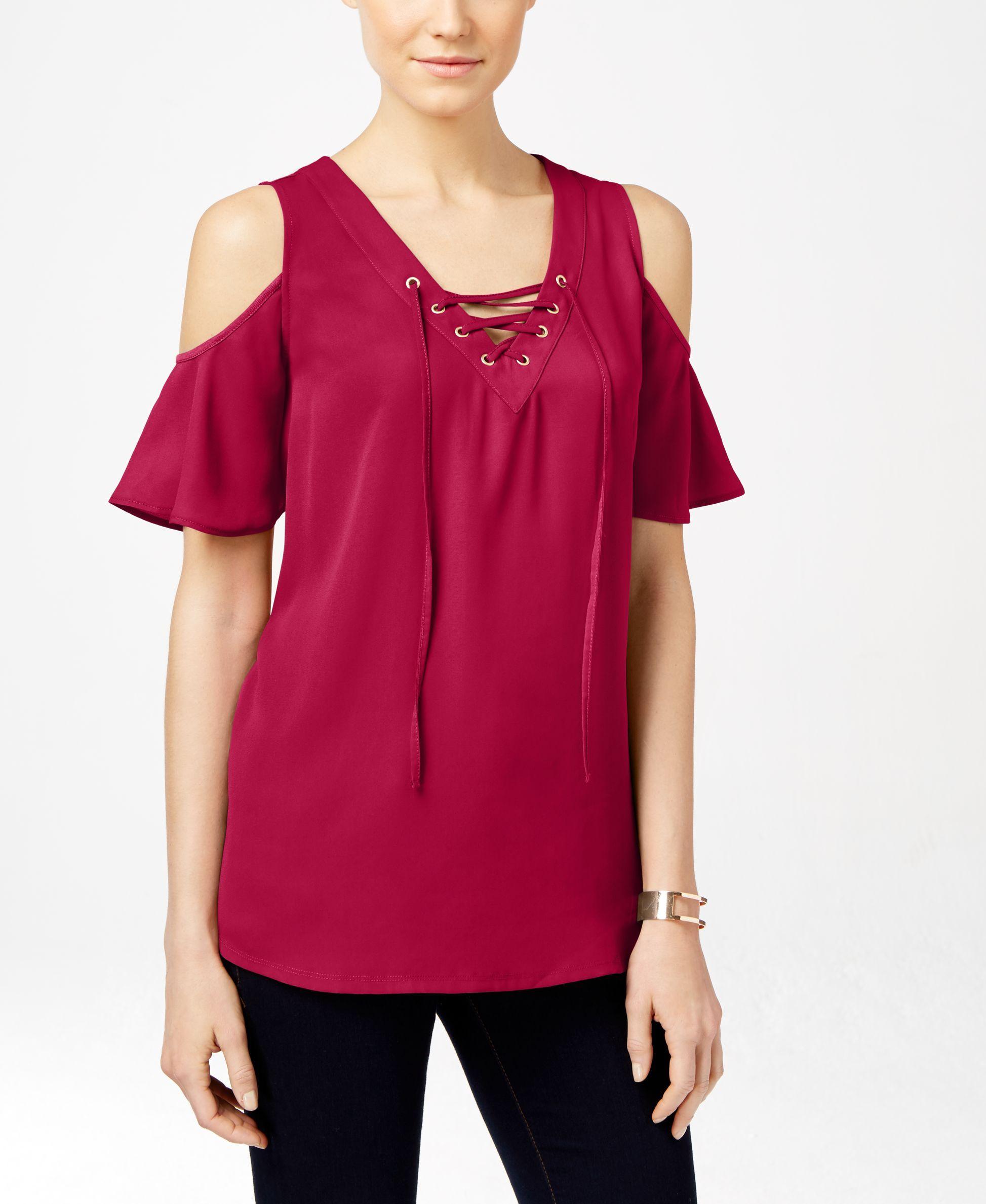 43879d2696736 Inc International Concepts Lace-Up Cold-Shoulder Blouse
