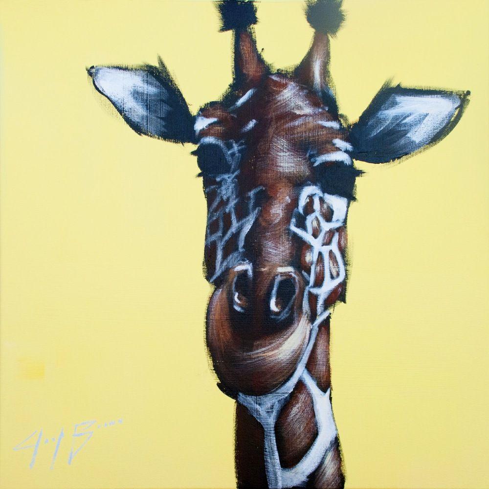 Giraffe on Yellow 24X24