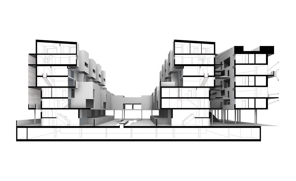 Cross Section Perspective Terrace House Architectural Section Terrace