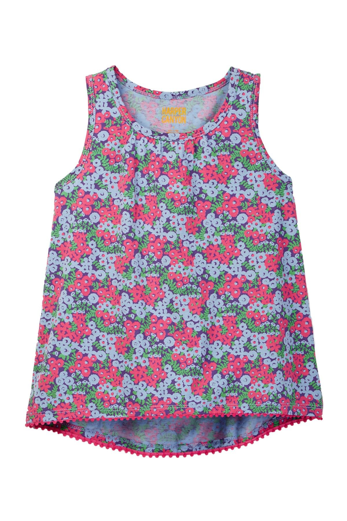 Pom-Pom Floral Print Tank (Little Girls)