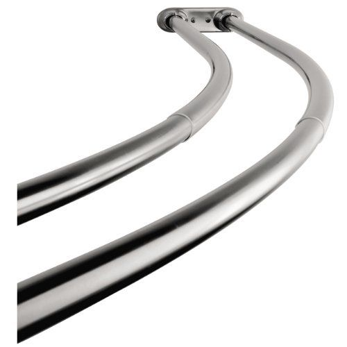 Adjustable Double Curved Polished Chrome Shower Rod Adjusts From