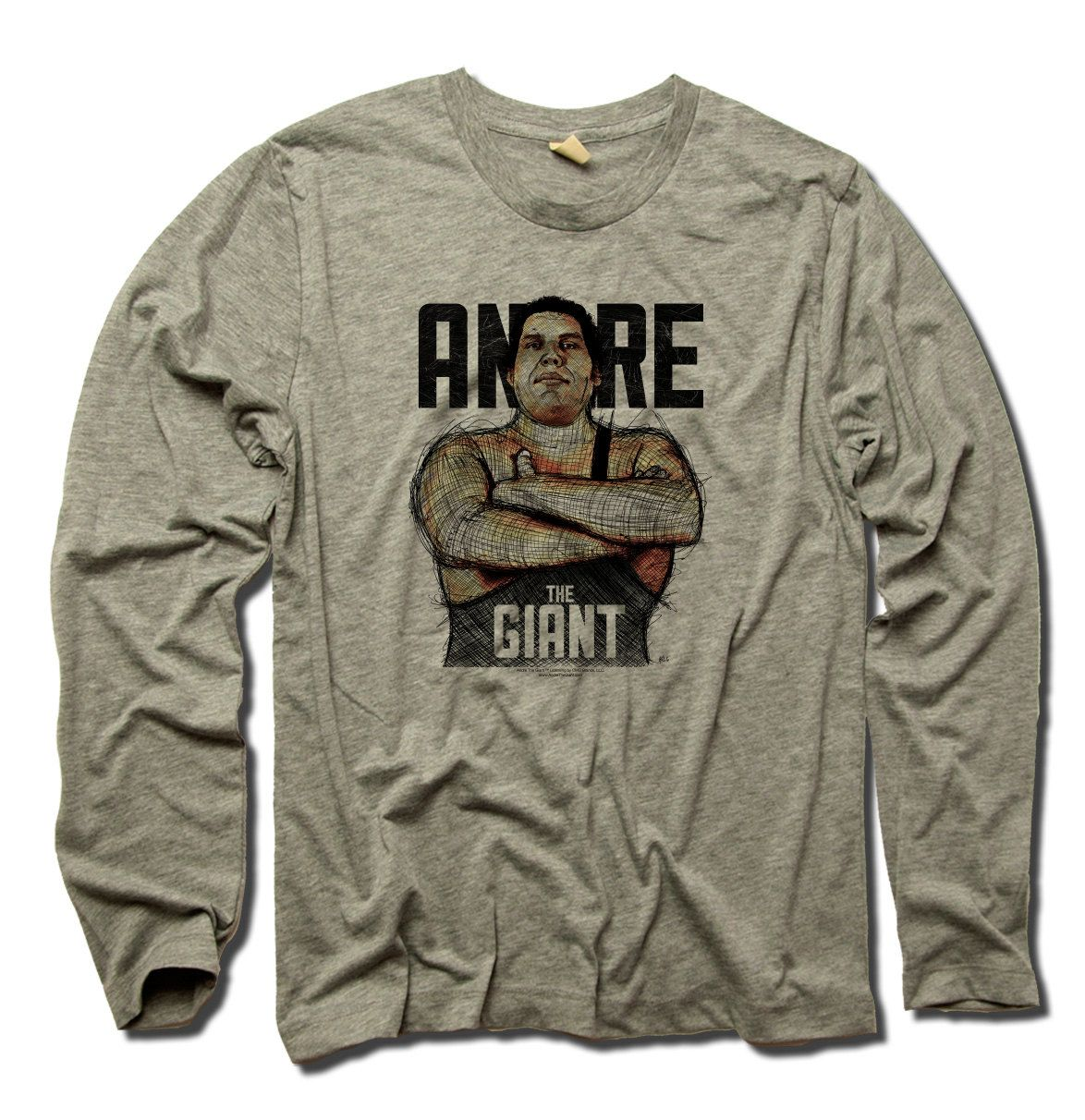 Andre Roussimoff Pro Wrestling Officially Licensed Long Sleeve Shirt S-3XL Andre the Giant Sketch B