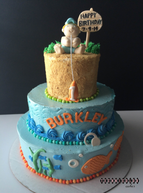 First Birthday Boys Gone Fishing Buttercream with Gumpaste