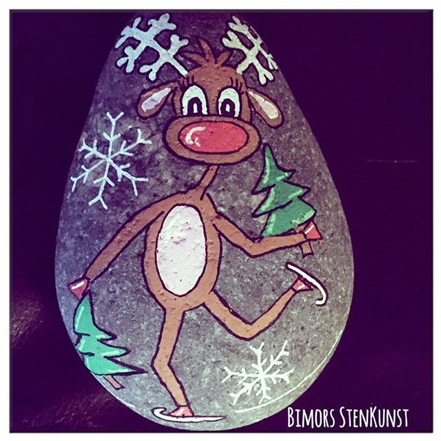 #paintedstones #christmas #rudolph #paint