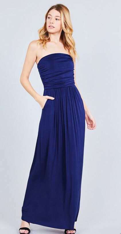 7baad01110d6 Rayon modal spandex tube top maxi dress. Color Navy.  dresses  outfits