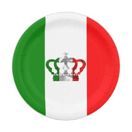 #Vintage Crown Modern Italy Italian Flag Paper Plate - #giftideas for #kids #  sc 1 st  Pinterest & Vintage Crown Modern Italy Italian Flag Paper Plate | Italian flags