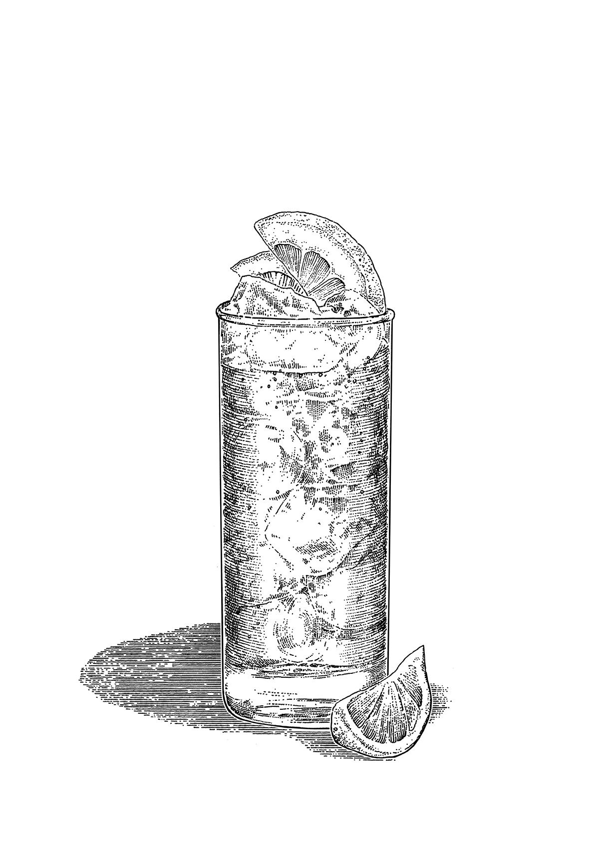 Illustrated Single Colour Cocktail Serves Commissioned By