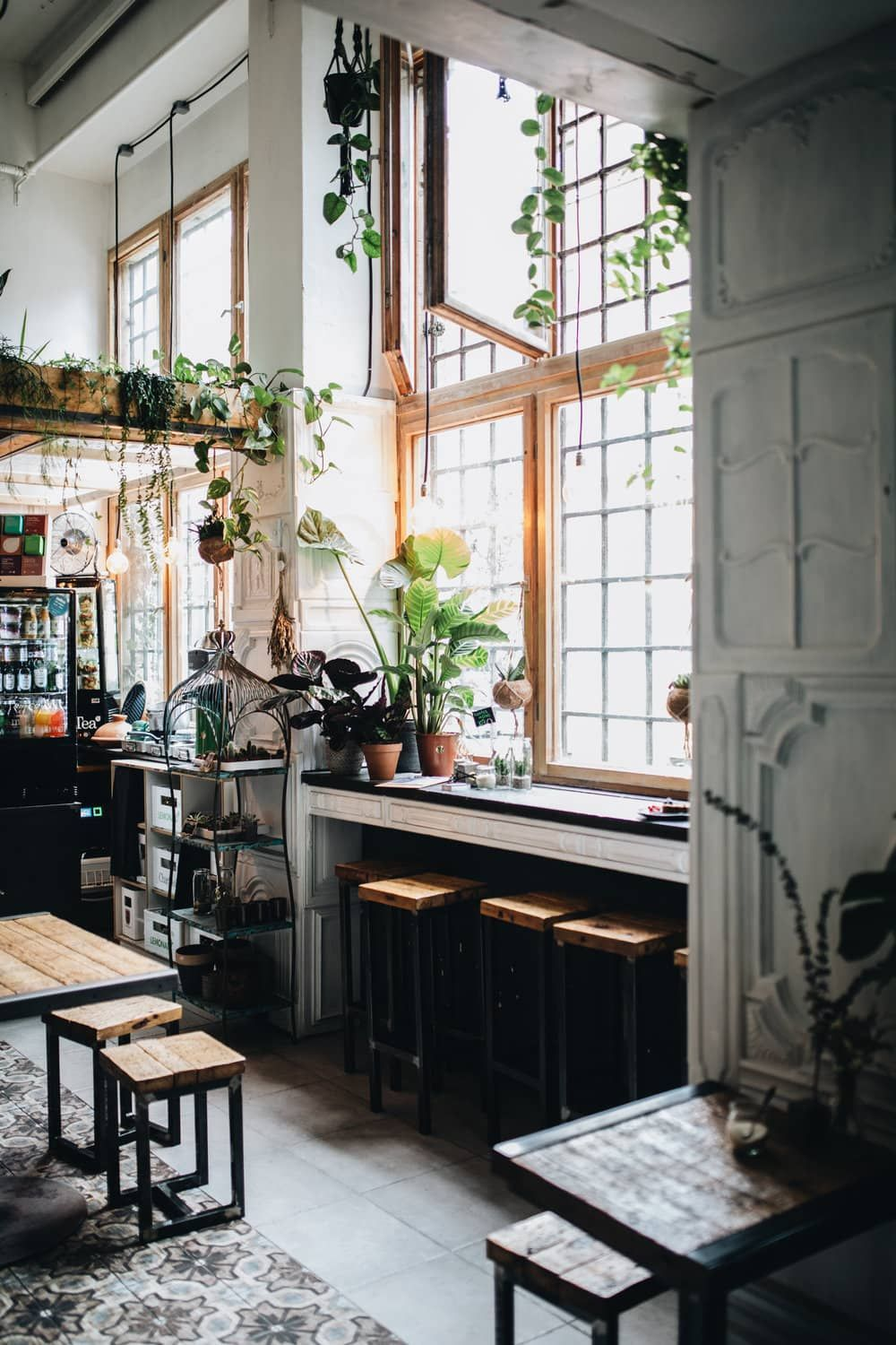 Interior Design Berlin The Greens Coffee And Plants Cafe Interior, Berlin – Home Decor – Design. / Visual. | Cafe Interior, Cosy Cafe, Dark Interiors