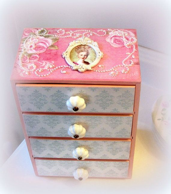 Marie Antoinette Roses and Pearls Jewelry Box French Shabby Chic