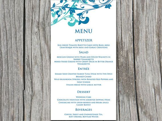 Whimsical Vines Wedding Menu Card Microsoft Word Template Winter - Menu Word Template