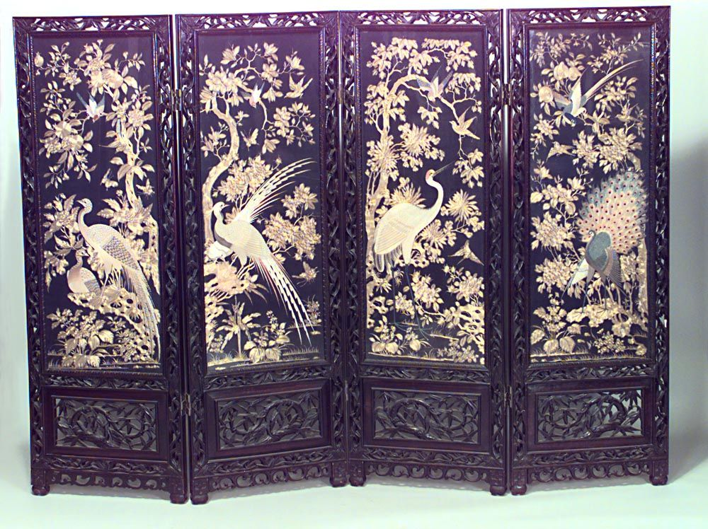 Asian Chinese 19th Cent Rosewood Filigree Carved Framed 4 Fold Screen With Silk And Gold Embr Folding Screen Folding Screen Room Divider Painted Screen Doors