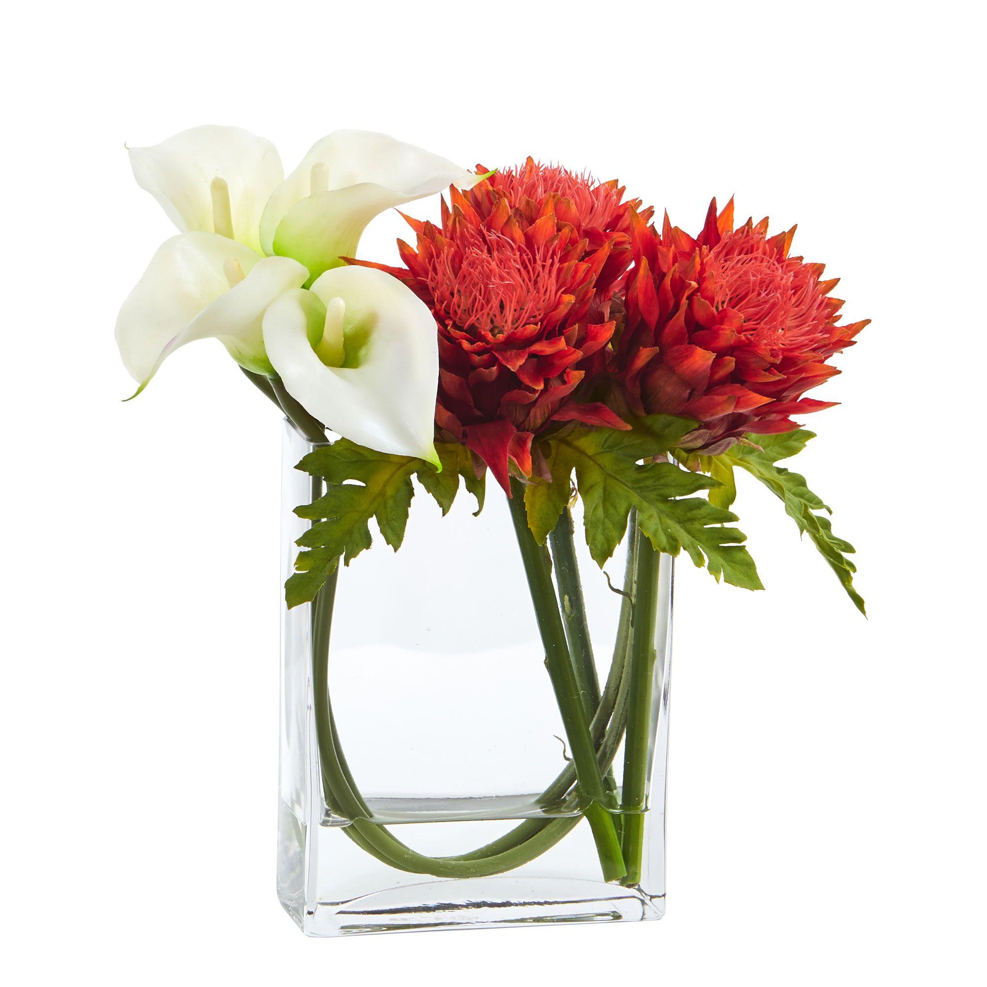 12\'\' Calla Lily and Artichoke in Rectangular Glass Vase Artificial ...