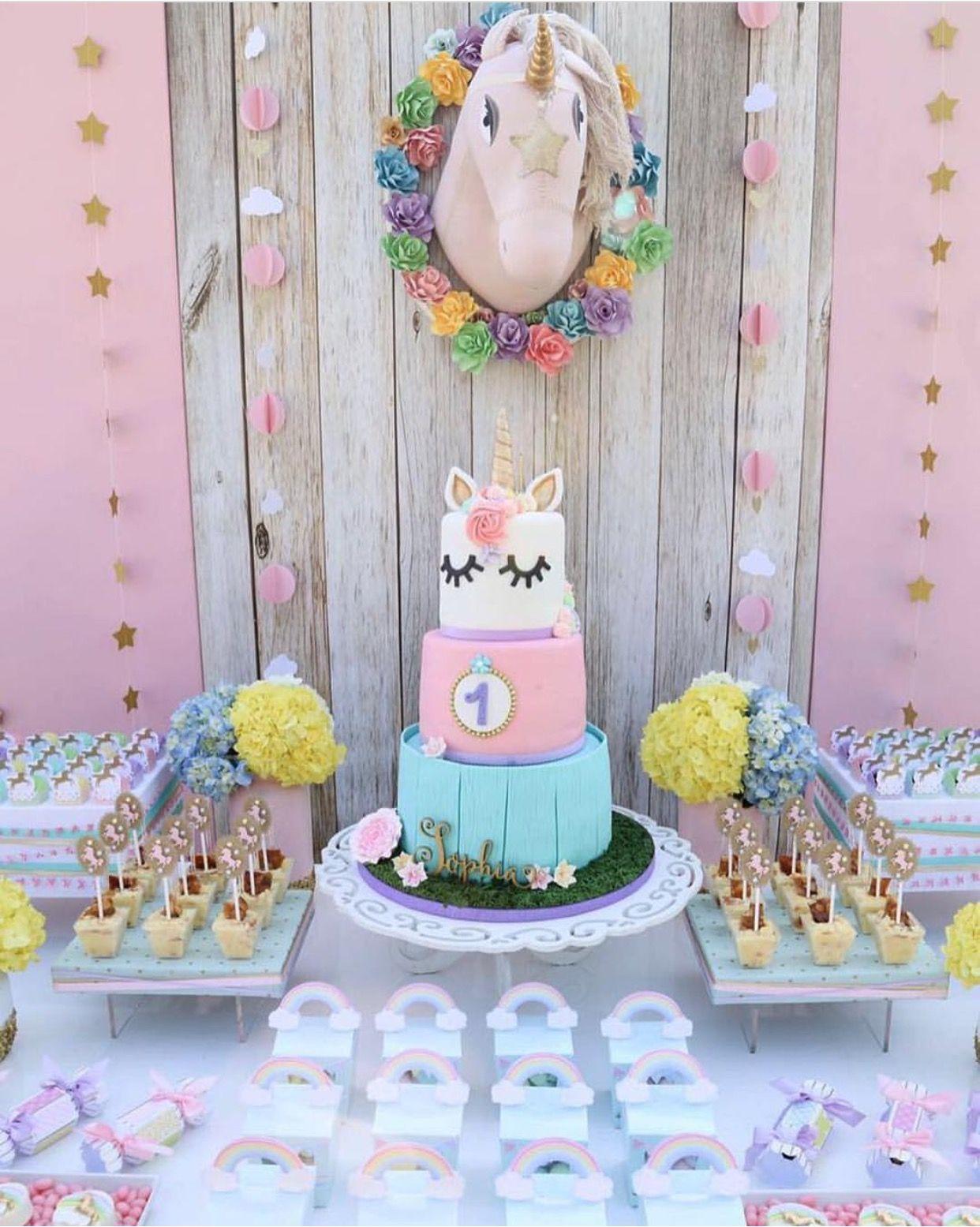 mesa de fiesta de unicornio fiesta de unicornios