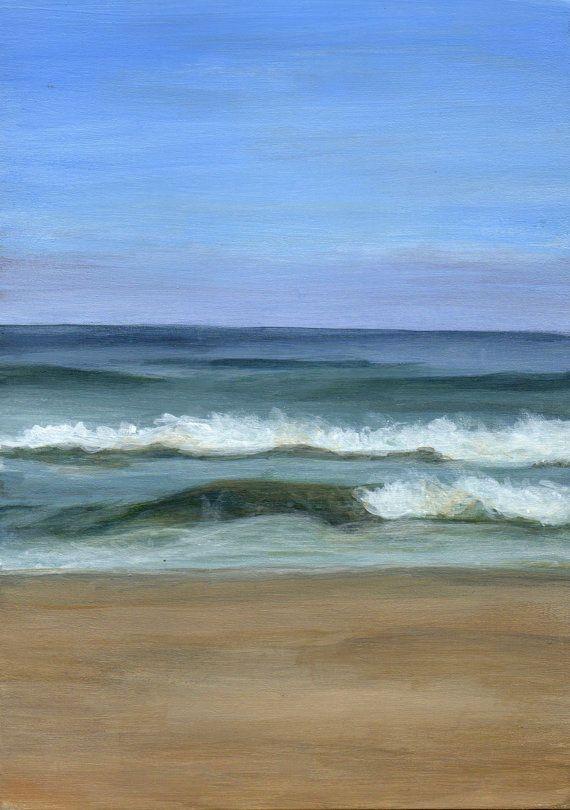 Seascape Original Acrylic Painting Seashore Beach Landscape Of Ocean Waves Seashore Paintings Ocean Painting Beach Landscape
