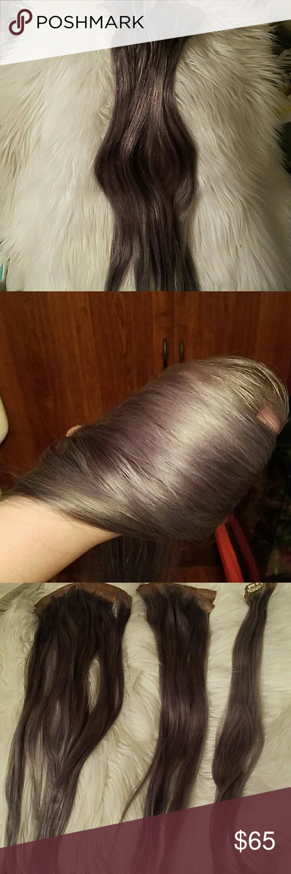 Clip In Hair Extensions 20 Dark Grey Color Color Pictures And