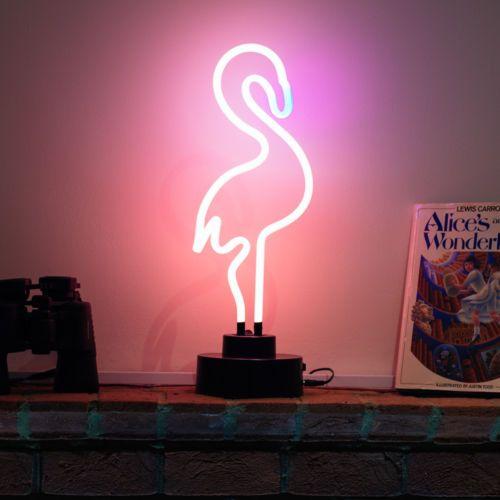 Neon Bar Pub Light Sign Table Lamp Sculpture Vintage Pink