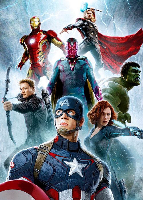 Tony Stark, Thor Odinson, Vision, Clint Barton, Bruce Banner, Natasha Romanoff, Steve Rogers    Avengers: Age of Ultron    500px × 700px    #promo #art