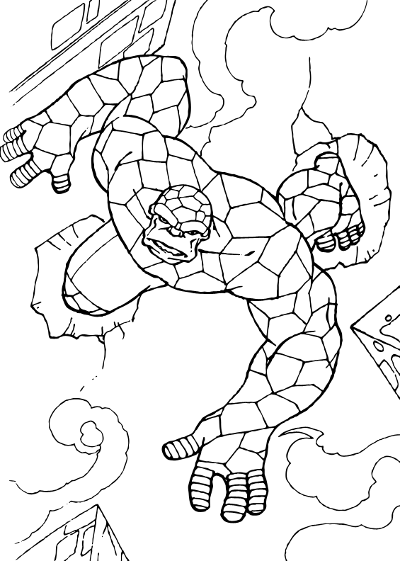 Coloring Page Of The Things Running A Drawing Of The Famous Disney Movie Fantastic Four More Coloring Pages O Coloring Pages Coloring Pictures Fantastic Four