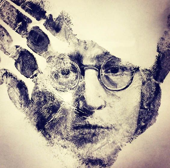 Russell Powell Paints Detailed Portraits On His Hands And Then Stamps Them On Paper