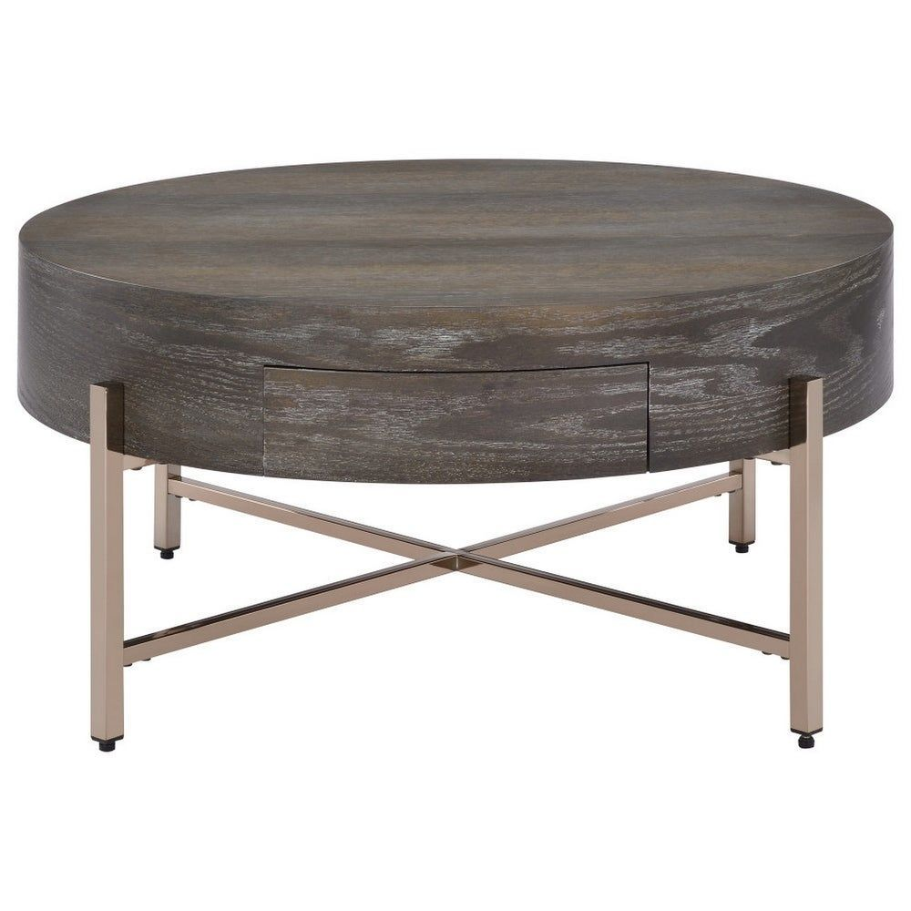 1 Drawer Round Modern Coffee Table With Crossed Metal Legs Brown And Gold Gold Wood And Metal Round Coffee Table Modern Modern Coffee Tables Coffee Table [ 1000 x 1000 Pixel ]