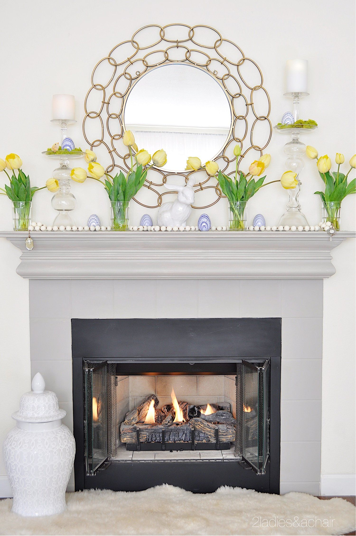 Mar 13 Simple Easter Mantel Decor