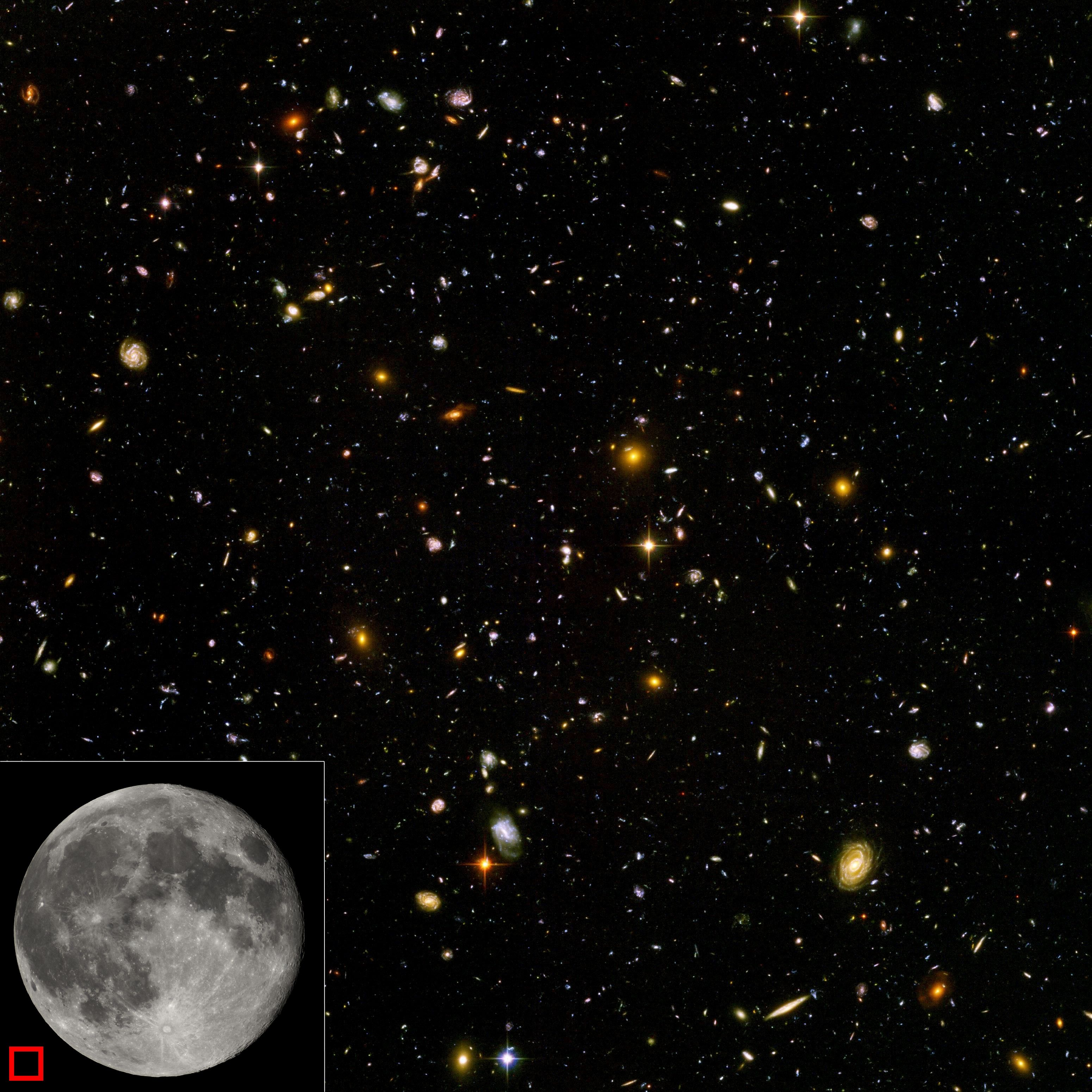 This high-resolution image of the Hubble Ultra-Deep Field shows a diverse range of galaxies, each consisting of billions of stars. The equivalent area of sky that the picture occupies is shown as a red box in the lower left corner. The smallest, reddest galaxies, about 100, are some of the most distant galaxies to have been imaged by an optical telescope, existing at the time shortly after the Big Bang.