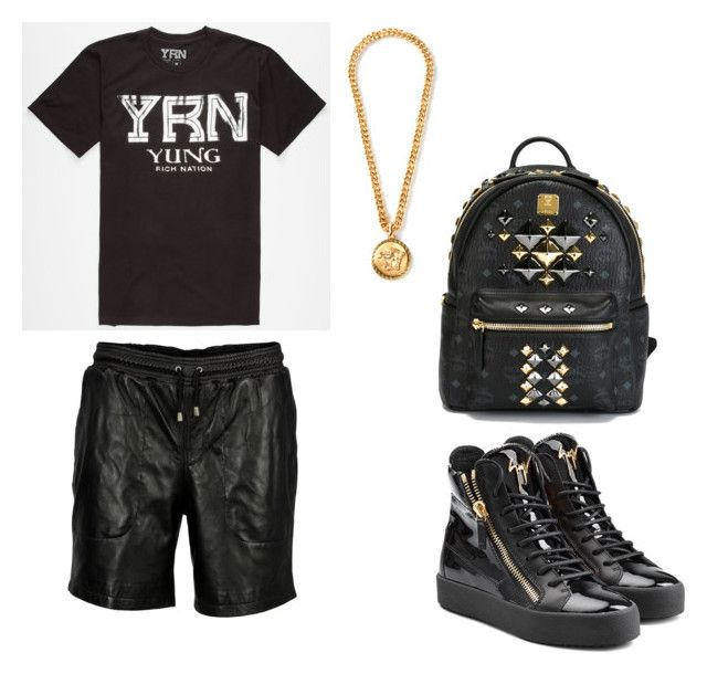 """""""Yung Rich Nation we tha new trend now"""" by yungrichnation ❤ liked on Polyvore featuring Giuseppe Zanotti, VIPARO, Versace and MCM"""