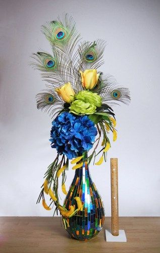 Anything Peacock Decor Large Modern Peacock Floral Arrangement
