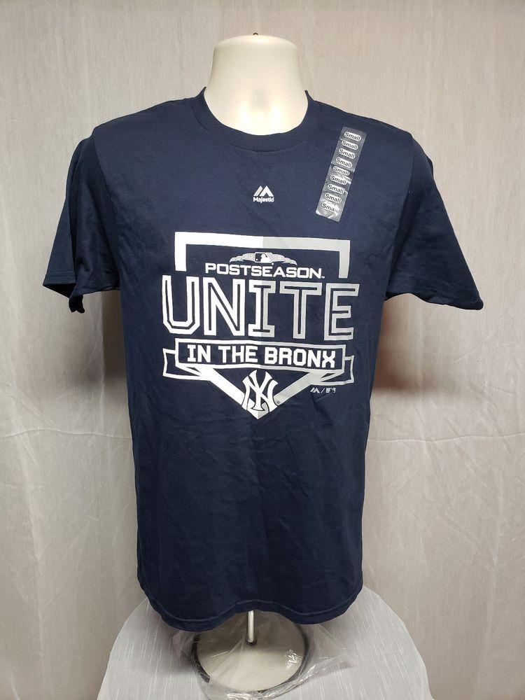 2018 NY Yankees PostSeason Unite in the Bronx Adult Small Blue TShirt   NewYorkYankees  NewYorkYankees 42d058754d7