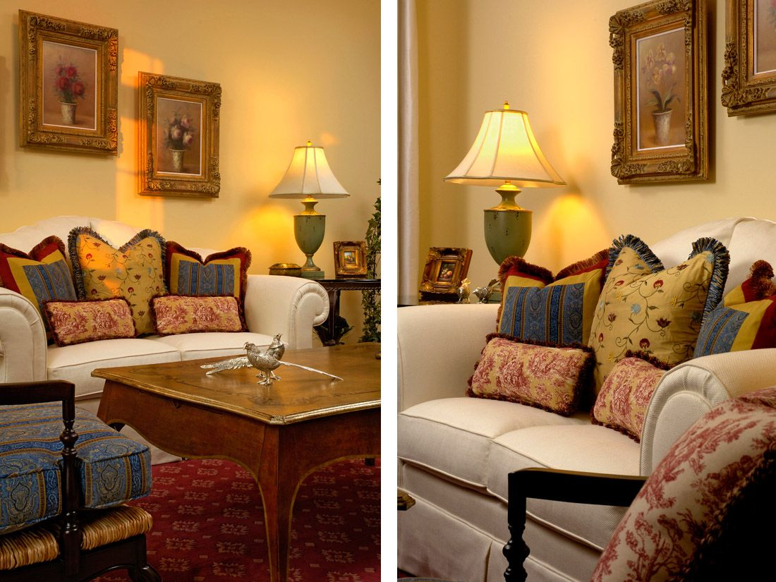 French Country Living Room Red Blue Green Yellow Traditional