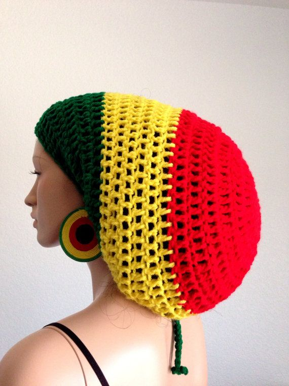 Crochet Rasta Tam with matching Earrings. Unisex Dreadlocks Tam ...