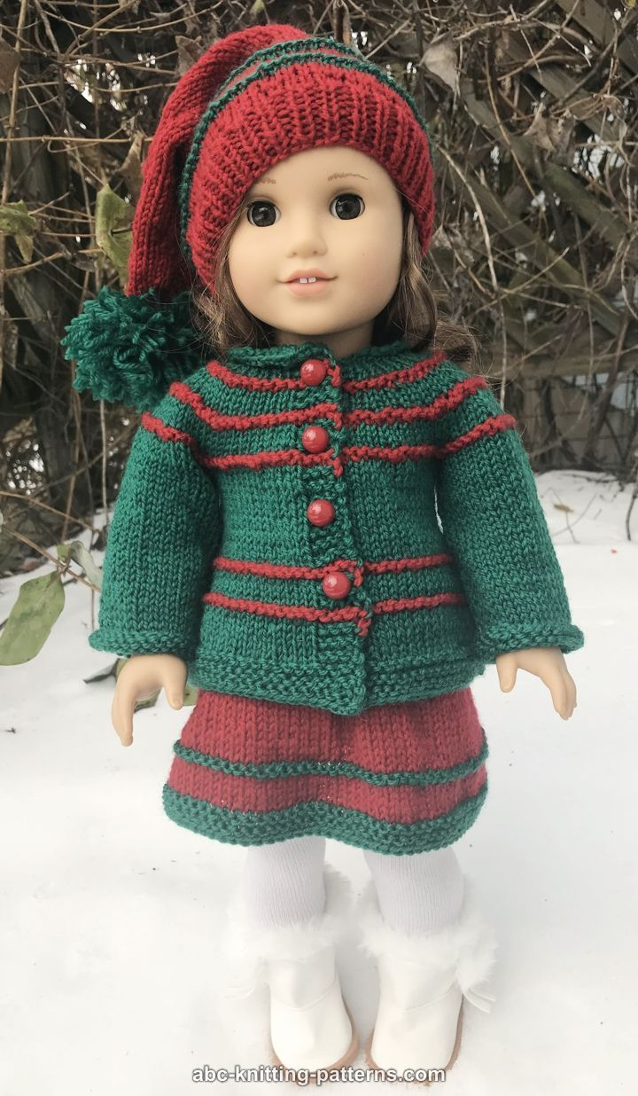ABC Knitting Patterns - American Girl Doll Jacket for Santa's Helper Outfit #dollclothes