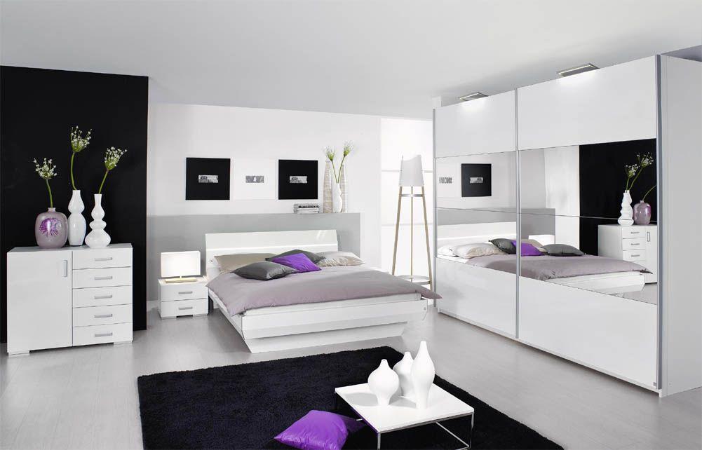 Armoire coulissante laqué blanc et miroir COLOGNE, Armoire ...
