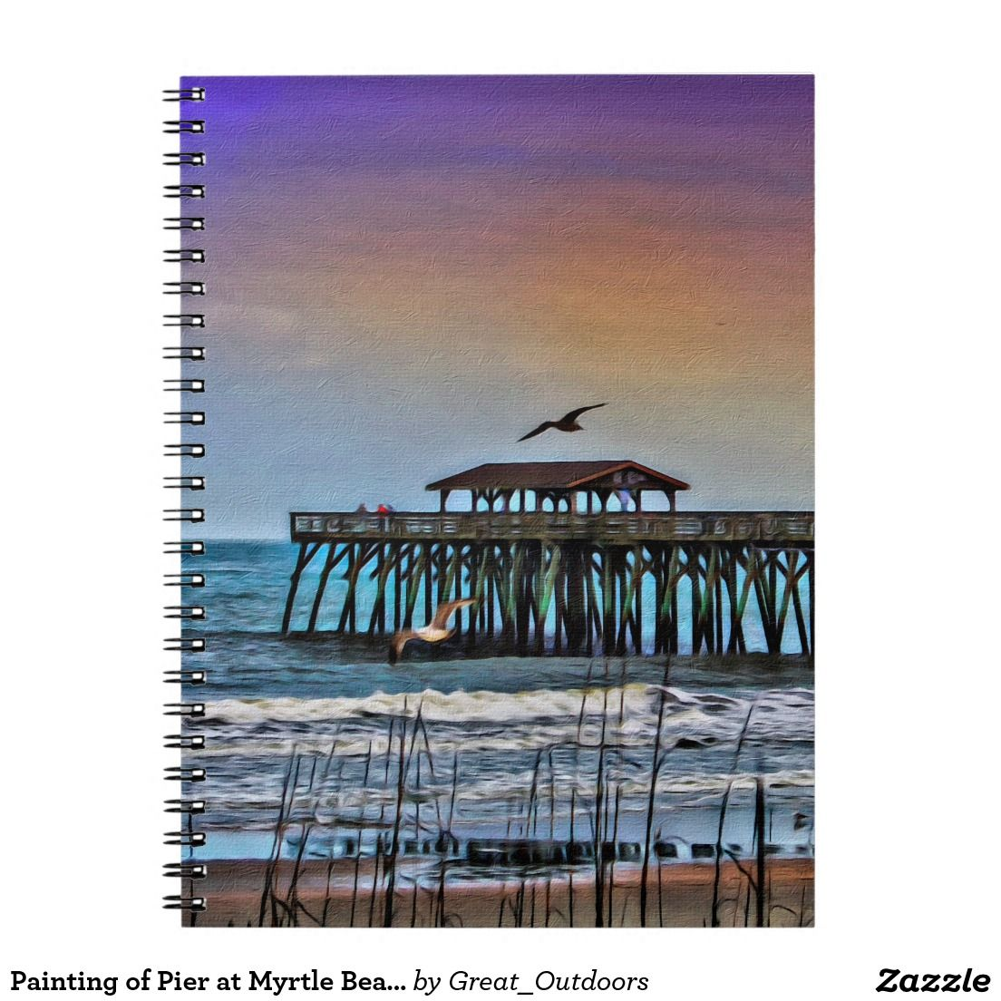 Painting of Pier at Myrtle Beach Notebook