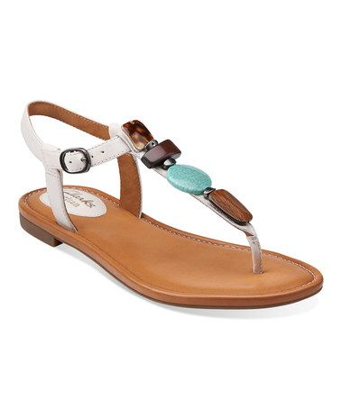 Clarks Womens Indira Pompanop Off White - Sandals