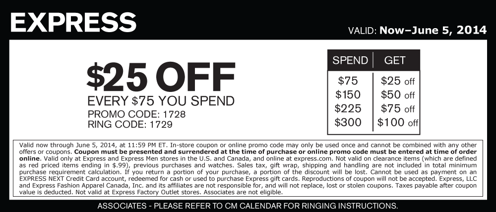 Pinned June 5th 25 Off Every 75 At Express Or Online Via Promo Code 1728 Coupon The Coupons App