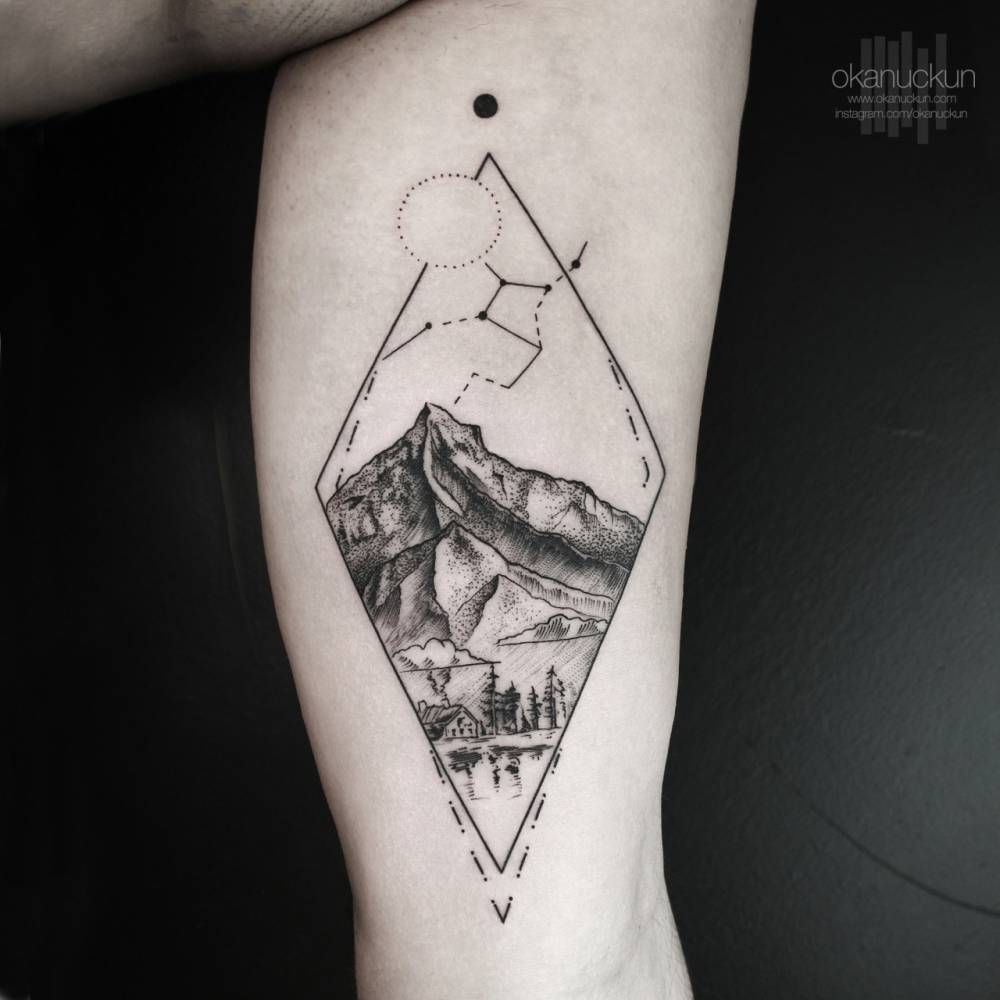 348475c3d89e2 Landscape tattoo on the left inner arm. Tattoo... - Little Tattoos for Men  and Women