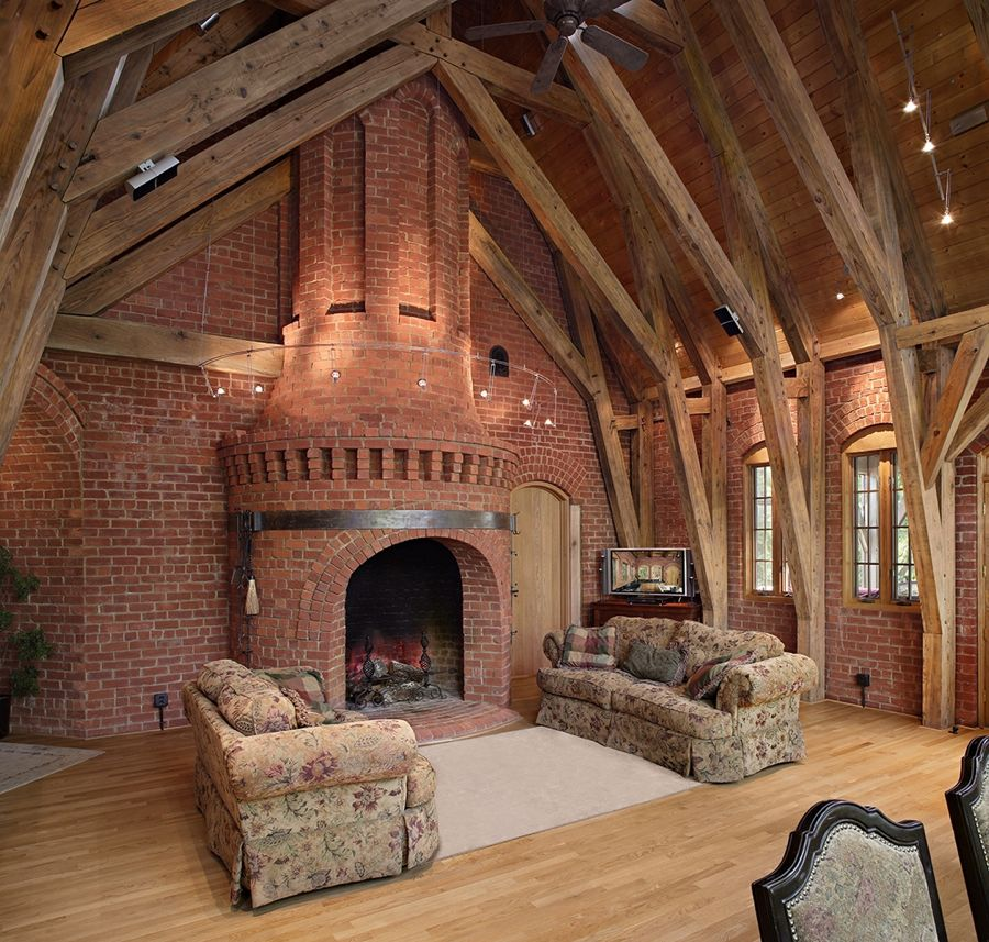 Beautiful Rustic Outdoor Fireplace Design Ideas 687: View Of Great Room With 9 Foot Diameter Cylindrical Grand