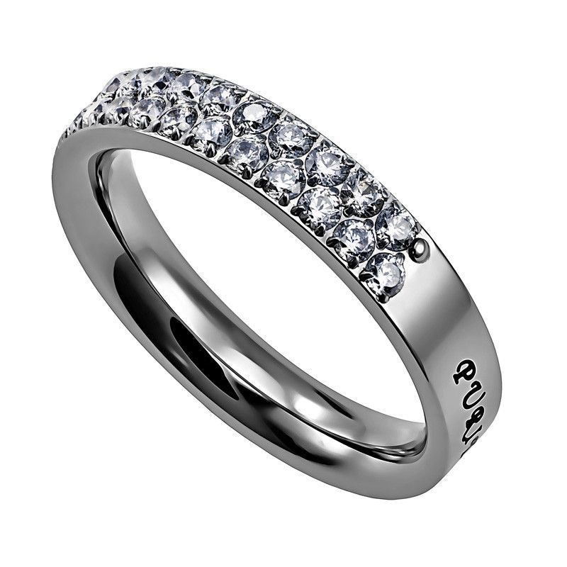PURITY Ring for Teen Girls with Bible Verse Stainless Steel with