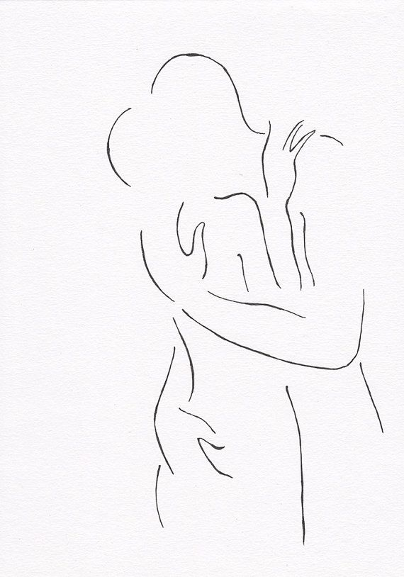 Minimalist kiss drawing original line art illustration black and white art