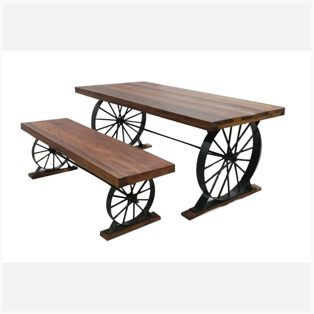 Wagon Wheel Table Wood Iron Patio