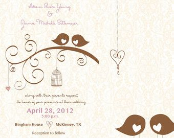 invitation and rsvp card love bird wedding invitation elegant wedding invitations - Love Birds Wedding Invitations